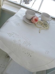 Table Cover Doily Linen Open Cutwork Linen by mailordervintage