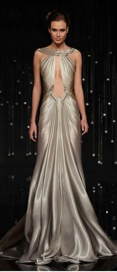 Billionaire Club / karen cox. The Glamorous Life.  Modern Goddess:  Metallic Gown from JEAN FARES