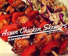 Sesame Chicken Skewers with Asian Slaw - 21 Day Fix Meal Recipe - 1 Red, 2 Green, 1 Orange, 1 tsp | This blog has lots of 21 Day Fix approved recipes and tips! www.RxforHealthyLiving.com #21dayfix
