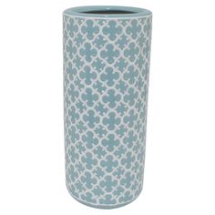 Bring elegant style to your entryway or mudroom with this lovely ceramic umbrella stand, showcasing an alluring quatrefoil trellis motif in white and blue.