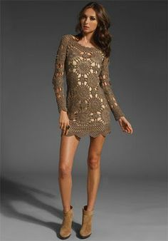 picture, crocheted short dress