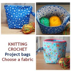 Project Bag for knitting Project Bag for crochet Crochet project bag Work in progress Knitters gift Project bag for socks Choose Fabrik