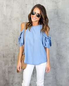 Kacee Tencel Top-- cute design, almost looks like chambray