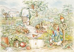 Beatrix Potter Peter Rabbit Scene Wall Mural by HughesPrint on Etsy https://www.etsy.com/listing/464783762/beatrix-potter-peter-rabbit-scene-wall