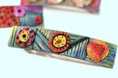 Gypsy Fantasy Hair Clip, Hand Painted and Carved Barrette, Unique, Artisan Inspired French Clip for Long Hair