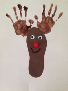We painted the children's hands and then traced the foot on brown paper to make this cute little reindeer.