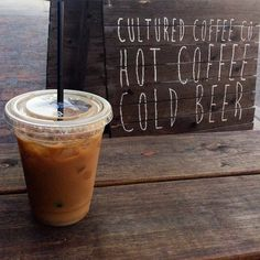 Cool off and wake up with an awesome iced latte! #culturedcoffeeandwaffles #coffee #waffles #radcanton #icedlatte #hot