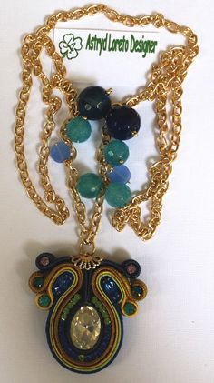 Diamond Crystal, blue & green Crystals, and Blue faceted Agate necklace. Soutache.