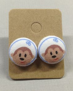 5/8 Size 24 Blue/Brown Monkey Fabric Covered Button by RatDogInk