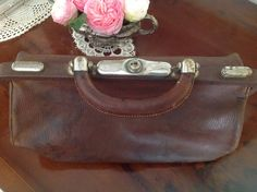 Vintage, French, Brown Embossed Leather, Doctor's Bag with Character and Charm.  Medical Student Graduation Gift. Film Prop, Photo Prop. by FleursEnFrance on Etsy
