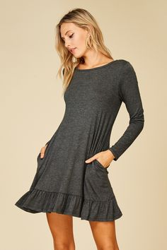 b7bd1645c8 Long Sleeve Ruffle Skirt Dress with Side Pockets Style  D5228 A knit solid  dress featuring long sleeves