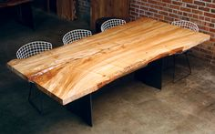 Urban Hardwood Reclaimed wood dining room table, do I want bertoa chairs or ghost chairs with my wood table?