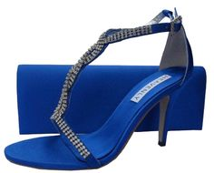 Bernice Royal Blue Evening Sandals. #RoyalBlueEveningSandals