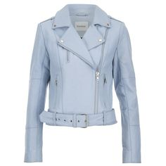 Gestuz Women's Prue Jacket - Baby Blue (13.965 CZK) ❤ liked on Polyvore featuring outerwear, jackets, coats, blue, blue moto jacket, button jacket, genuine leather biker jacket, leather motorcycle jacket i blue motorcycle jacket