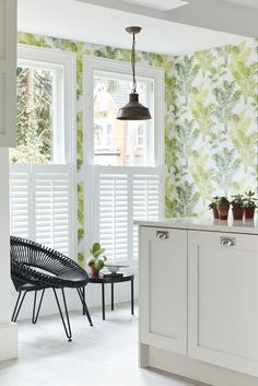 Cafe style shutters in a shaker-modern kitchen. Light and airy window dressing while providing privacy too! Custom Shutters, Diy Shutters, Interior Shutters, Cafe Style Shutters, Kitchen Shutters, Kitchen Wallpaper Design, California Shutters, Buying A New Home, Open Plan Kitchen