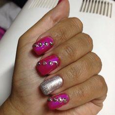 Pink Gel UV with Silver Gel UV & strass