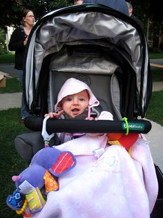 In Oak Park, Illinois. But was it ever COLD! Are we sure it's not October?   (Loving this stylish stroller | Amazing functionality)