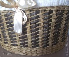 Поделка изделие День рождения Плетение Просто корзинки Бумага газетная Трубочки бумажные фото 3