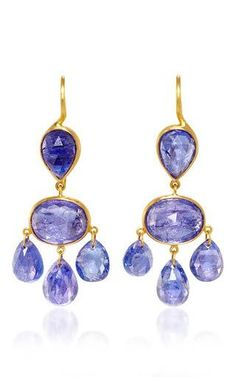 22k yellow gold and tanzanite gabrielle d'estree earrings  by MARIE-HéLèNE DE TAILLAC for Preorder on Moda Operandi