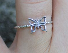 Sterling silver little butterfly silver ring by CapturedIllusions