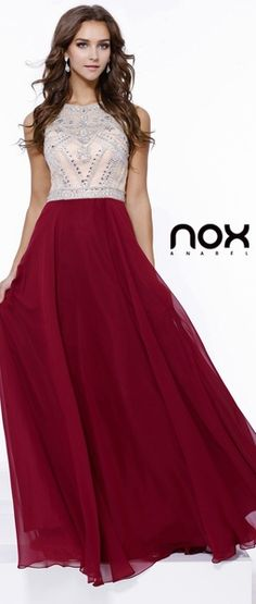 Prom Gown Burgundy Chiffon Embellished Top #discountdressshop #twotonecolor #promgown #burgundydress #embellisheddress