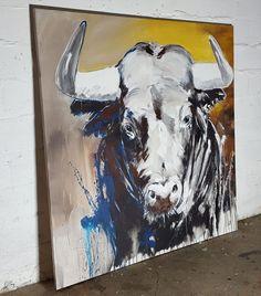 TAURUS zeitgenössische Malerei auf großformatiger Leinwand, Portrait von einem Stier #Bull #Toro #contemporaryart #art #taurus #gemalt #kunst #zeitgnössischekunst #malerei #stier