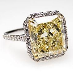 $29,499.00 4 CARAT RADIANT CUT FANCY LIGHT #YELLOW #DIAMOND ENGAGEMENT RING SOLID PLATINUM & 18K GOLD