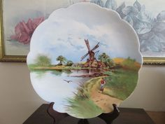 "Limoges  France Scenic Charger Plate 12,5"" Windmill Man"