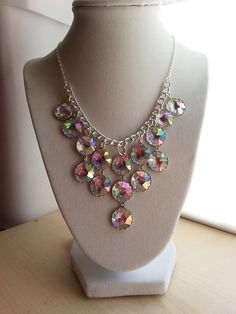 Large rhinestone/crystal silver beaded statement by ILoveBeads247, $14.00