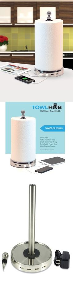 paper towel holder with usb hub great idea