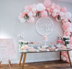 A very pink candy table. A very pink candy table. Balloon Decorations, Birthday Decorations, Baby Shower Decorations, Baby Party, Baby Shower Parties, Baby Shower Candy Table, Pink Candy Table, Pink Table, Pink Sweets