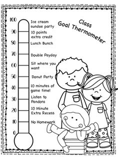 Use this thermometer to make and measure goals in your class. There is a template form and a form with examples. I will be using this by playing the teacher/student game. Classroom Rewards, Classroom Behavior Management, Special Education Classroom, Kids Behavior, Classroom Organization, Classroom Rules, Goal Thermometer, Student Games, Goals Sheet