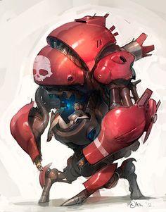 Mech and its pilot, cyberpunk / sci-fi inspiration Cyberpunk, Character Concept, Character Art, Space Opera, Arte Robot, Robot Concept Art, Ex Machina, Robot Design, Sci Fi Art