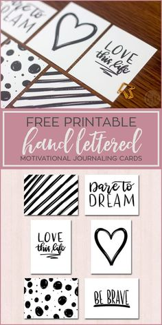Free printable hand lettered and doodled motivational journaling cards for scrapbooking, project life pocket pages and planners.