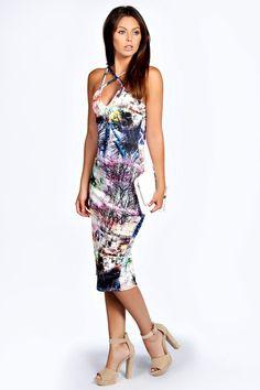 Libby Printed Strappy Bodycon Midi Dress
