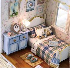 """Купить Набор кукольный домик (румбокс) """"Голубая спальня"""" - румбокс, roombox, собери сам"""