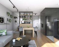 mieszkanie w szarościach z roślinnym akcentem - zdjęcie od Archomega Biuro Architektoniczne