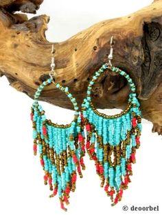 Blauw rode kraaltjes oorbellen (hanger) voor maar €4,95 per paar #oorbellen #earrings #deoorbel