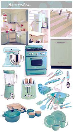 Aqua Kitchen - love the kitchen aid and the le cruset pots. Heaven