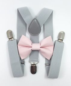 1dfc161e8 Light gray suspenders and light pink bow tie set baby boys boy family  photoshoot wedding formal ring bearer