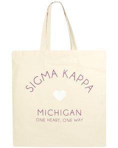 Sigma Kappa Michigan Tote by Adam Block Design | Custom Greek Apparel & Sorority Clothes | www.adamblockdesign.com