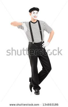 Full length portrait of a male mime artist posing isolated against white background - stock photo Mime Artist, Paris, Photo Editing, Royalty Free Stock Photos, Portrait, Holiday Ideas, Carnival, Pictures, Inspiration