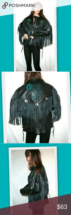 1980s Rocker Chick Leather Motorcycle Jacket From the closet of one of my friends who is a well-known Southern California singer-songwriter. Pro Rider leather motorcycle jacket.  Teal suede inserts in a rose pattern. Silver conchos on sleeves and back yoke. Laces on the sides. Gathered elastic on the back waist. Thinsulate thermal insulation lining.  This jacket is extremely heavy and weighs over 6 pounds. Zip front and zip sleeve cuffs.  Marked size 14 Measurements in comments Vintage…
