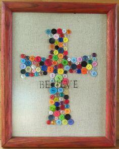 framed button cross  live. love. scrap.