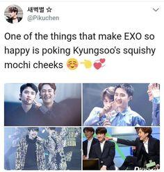 I mean if be happy too if I could squish his cheeks Exo Ot12, Kaisoo, Exo Memes, Funny Memes, Exo Facts, Chanyeol Baekhyun, Xiuchen, Exo Korean, K Pop
