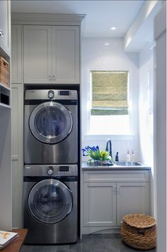Stacked washer & dryer, cabinetry