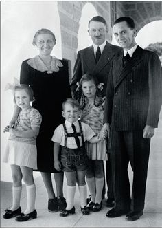 Adolf Hitler with his propaganda minister Jospeh Goebbels, his wife Magda, and three of their children in Goebbels Magda would commit suicide (after killing their 6 children) after Hitler new wife Eva Braun committed suicide, in Underground Bunker Nazi Propaganda, World History, World War Ii, Joseph Goebbels, The Third Reich, Historical Photos, New Wife, Wwii, The Past