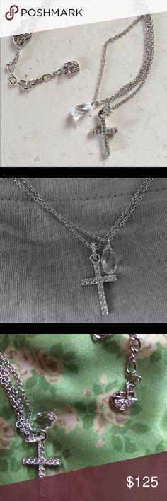 Swarovski cross Stunning Swarovski cross with double necklace and crystal drop Swarovski Jewelry Necklaces