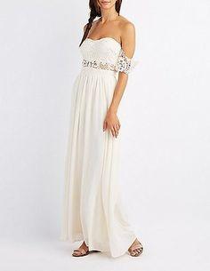 Lace & Chiffon Off-The-Shoulder Maxi Dress #prom