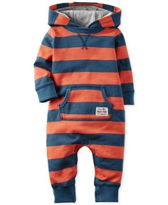 Baby Boy Carter's Striped Hooded Coverall - Kindermode Baby Boy Fashion, Kids Fashion, Niñas Carters Baby, Baby Boy Outfits, Kids Outfits, Baby Boys Clothes, Unisex Baby Clothes, Bebe Love, Baby Kind
